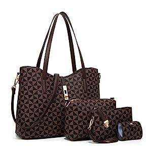 YTL Women Fashion Synthetic Leather Handbags+Shoulder Bag+Purse+Card Holder 4pcs Set Tote (Large, Coffee-Checkered-A)
