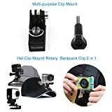 TELESIN Quick Release Clamp Mount Rec-mounts 360 Degree Rotary Backpack Clip Hat Clip Stand Adapter for Hero 3, Hero5/4, Session, Xiaoyi, SJCAM and Polaroid Cube Action Cameras Action Camera Accessories