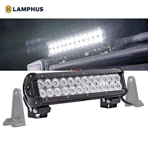 "LAMPHUS CRUIZER 12"" 72W LED Flood Light [60 Degree Spread] [Peripheral/Driving/Work Applications] [IP67] – For Off-Road, Construction, Tow Trucks, Utility Trucks & Marine Use"