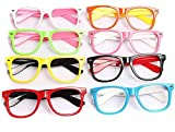 Set of 6 Kids Children Candy Colour Fashion Cute Glasses Frame Without Lenses Nerdy Retro Glasses Party Supplies (Colour Random) (B#)