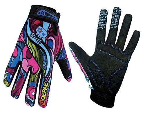 QEPAE Breathable Cycling Gloves Anti-Slip Full Finger Gel Gloves for Bicycle Riding Skiing, Gorgeous Color, Large