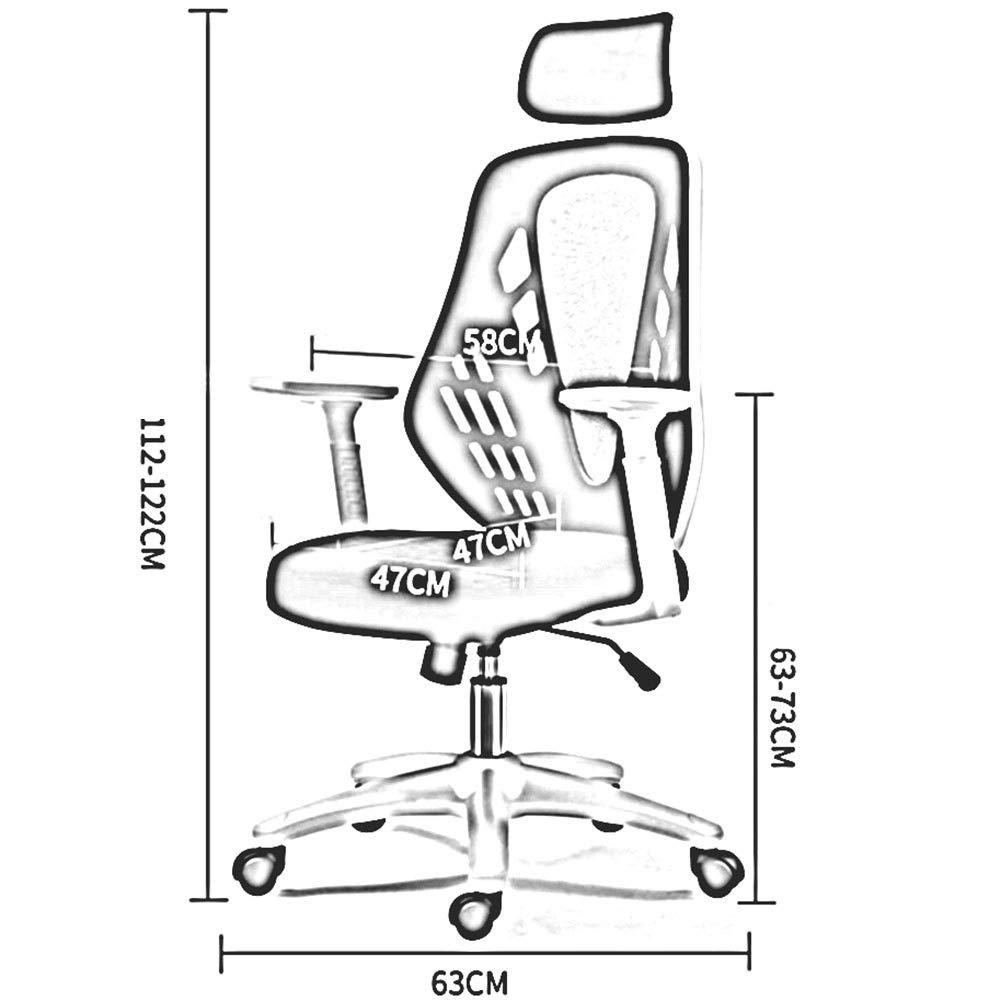 DALL kontorsstol hög rygg 360° vridbar lutningsfunktion dator spelstol justerbar höjd konferensstol nackstöd montering (färg: svart) Grått
