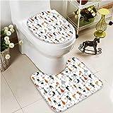 VROSELV Toilet Carpet Floor mat Card Suits Hearts des s Clubs Gamings Addiction 2 Piece Shower Mat Set