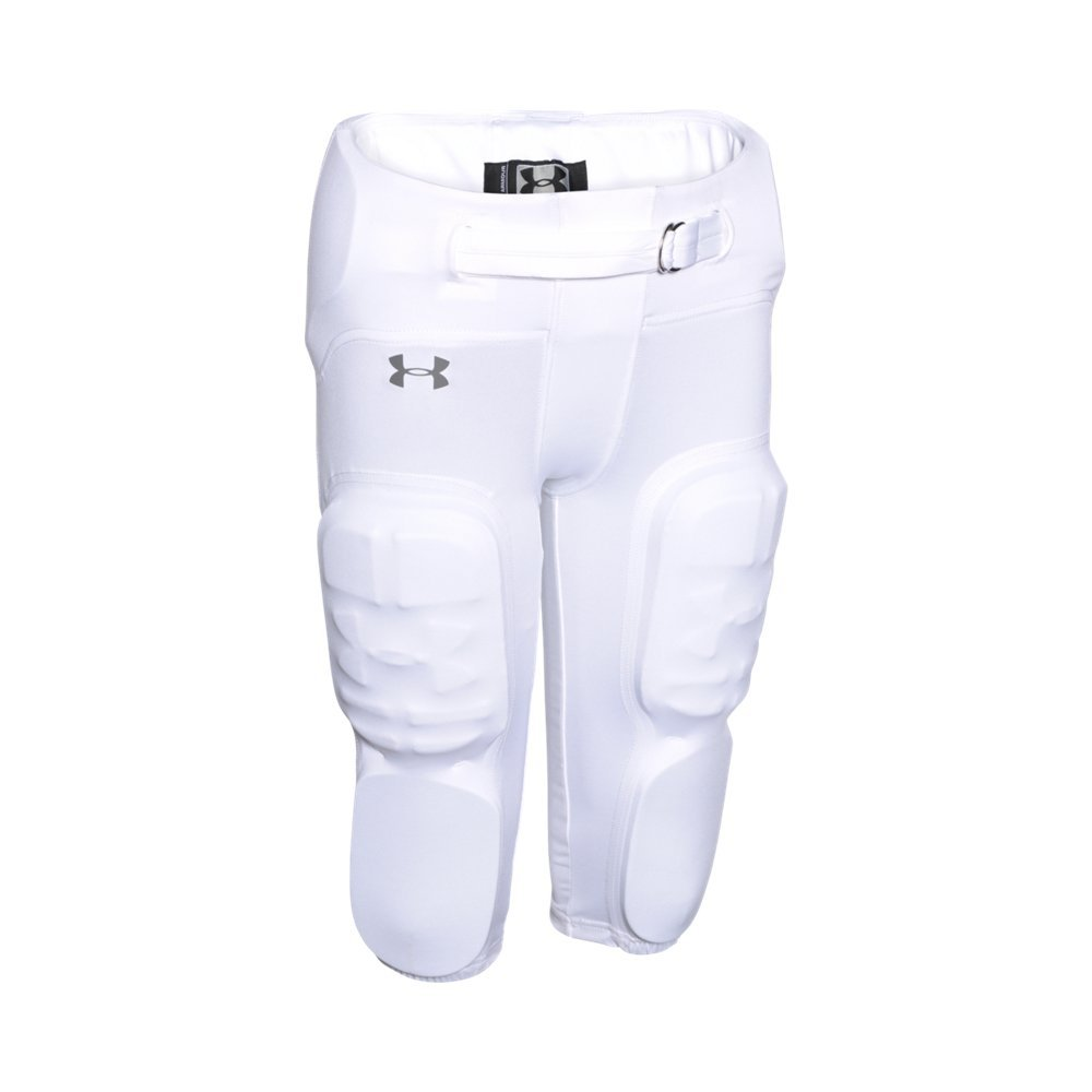 Under Armour Boys' Integrated Vented Football Pants, White /Graphite, Youth X-Large