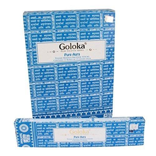 Goloka - Pure Aura - Tulasi Incense Sticks - 12 Boxes of 15 Grams ( 180 Grams Total ) by Goloka