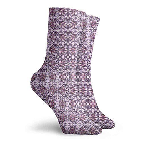 Vintage Men Multicolored Pattern Unisex Men's & Womens Socks White Purple Pink (Pink Sock Monkey Lovey)