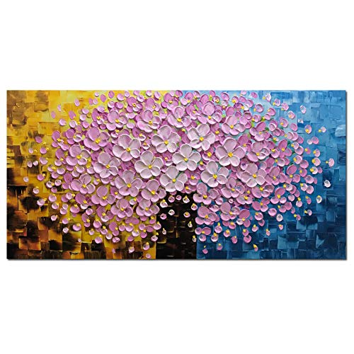 Metuu Modern Canvas Paintings, Texture Palette Knife Paintings Rich Multicolored Decorations Modern Home Decor Wall Art Painting Colorful 3D Flowers Wood Inside Framed Ready to Hang 24x48inch
