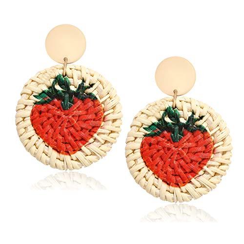 CEALXHENY Rattan Earrings Straw Wicker Braid Earrings Tropical Fruit Print Drop Dangle Earrings Handmade Statement Earrings for Women Girls (Strawberry)