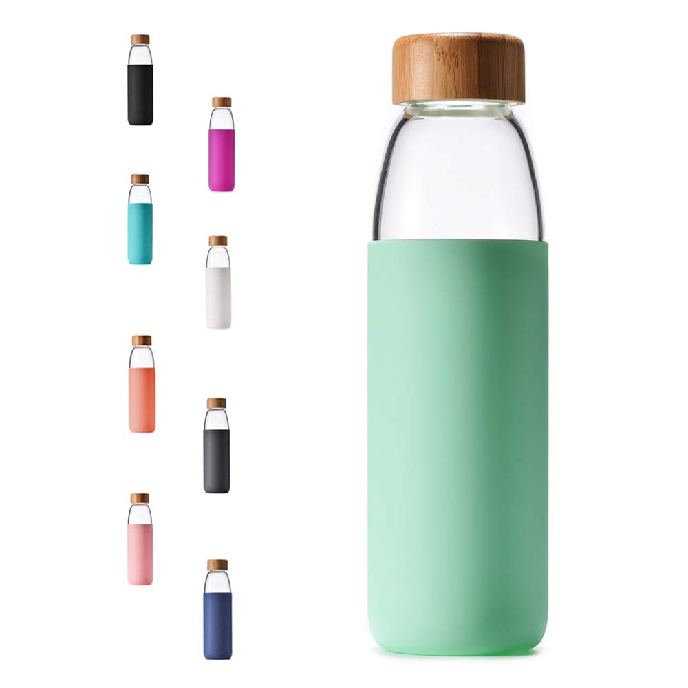 Veegoal Dishwasher Safe 18 Oz Borosilicate Glass Water Bottle with Bamboo Lid and Protective Sleeve-Bpa Free