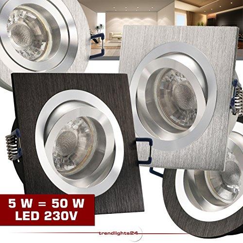 SONDERAKTION 1er Set Einbaustrahler NOBLE S1 eckig Aluminium Schwarz 230V mit COB LED 5W = ca. 50W Kalt-Weiß/Neutral-Weiß Decken Einbauleuchten quadratisch Einbauspots drehbar schwenkbar