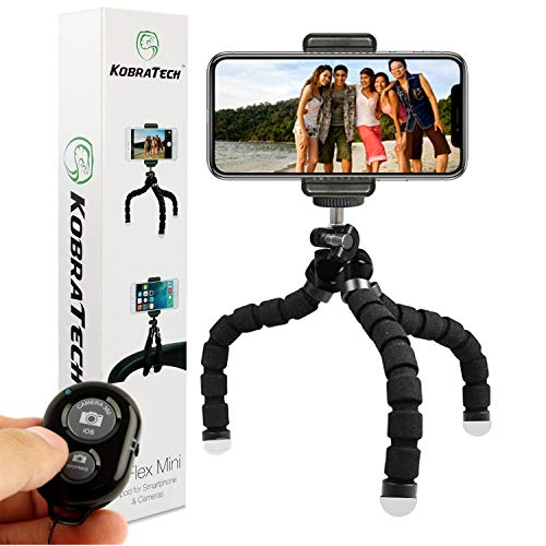 KobraTech Cell Phone Tripod TriFlex Mini Tripod for iPhone & Android Includes Bluetooth Remote Shutter