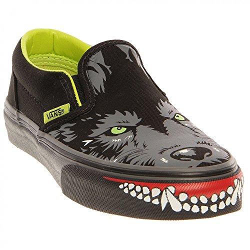 Vans Kid'S Classic Slip-On Wolf Sneaker - Black Lime Punch