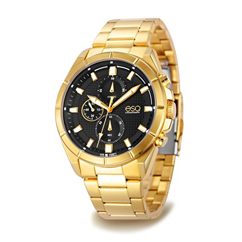 (ESQ Men's Dress Analog-Quartz Watch with Gold-Plated-Stainless-Steel Strap, 24 (Model: 37ESQE13101A))