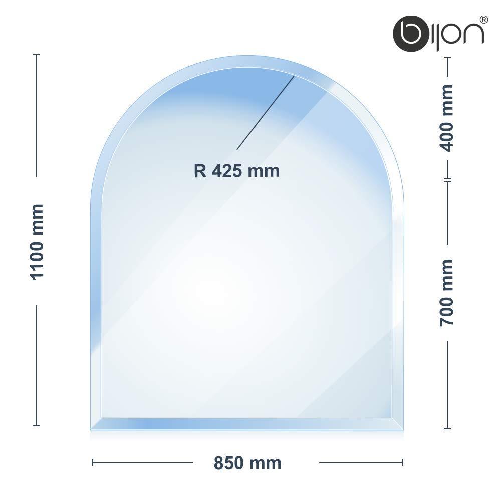Glasshop24 bijon® - 6mm Kamin Glasbodenplatte - Rundbogen 1100x850x6mm - 18mm Facette