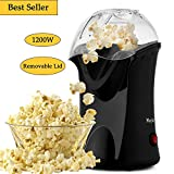 [US STOCK] 1200W Hot Air Popcorn Popper Electric Popcorn Machine Maker with Wide Mouth Design Measuring Cup and Removable Lid (Black)