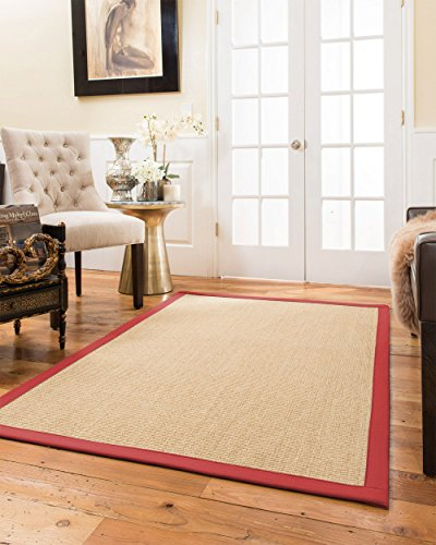 NaturalAreaRugs Largo Sisal Area Rug, Handmade in USA, 100 Percent Natural Sisal, Non-Slip Latex Backing, Durable, 4' by 6' Red - Latex Slip Sisal Rug Non