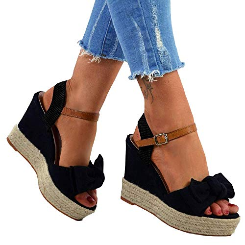 Liyuandian Womens Platform Espadrille Wedges Open Toe High Heel Sandals with Ankle Strap Buckle Up Shoes (6 M US, C Black)