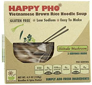 HAPPY PHO - Shiitake Mushroom, GLUTEN FREE Vietnamese Brown Rice Pho Noodle Soup, 4.5 oz, 2 SERVINGS Per Box (Pack of 6)