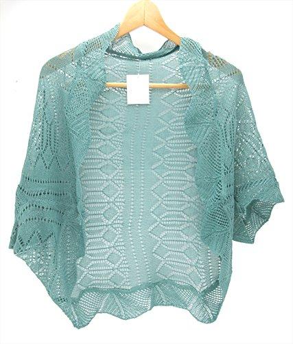 [パンダファミリー] カーディガン レディース 女の子 5分袖 半袖 透かし編み ドルマン スリーブ ボレロ UVカット