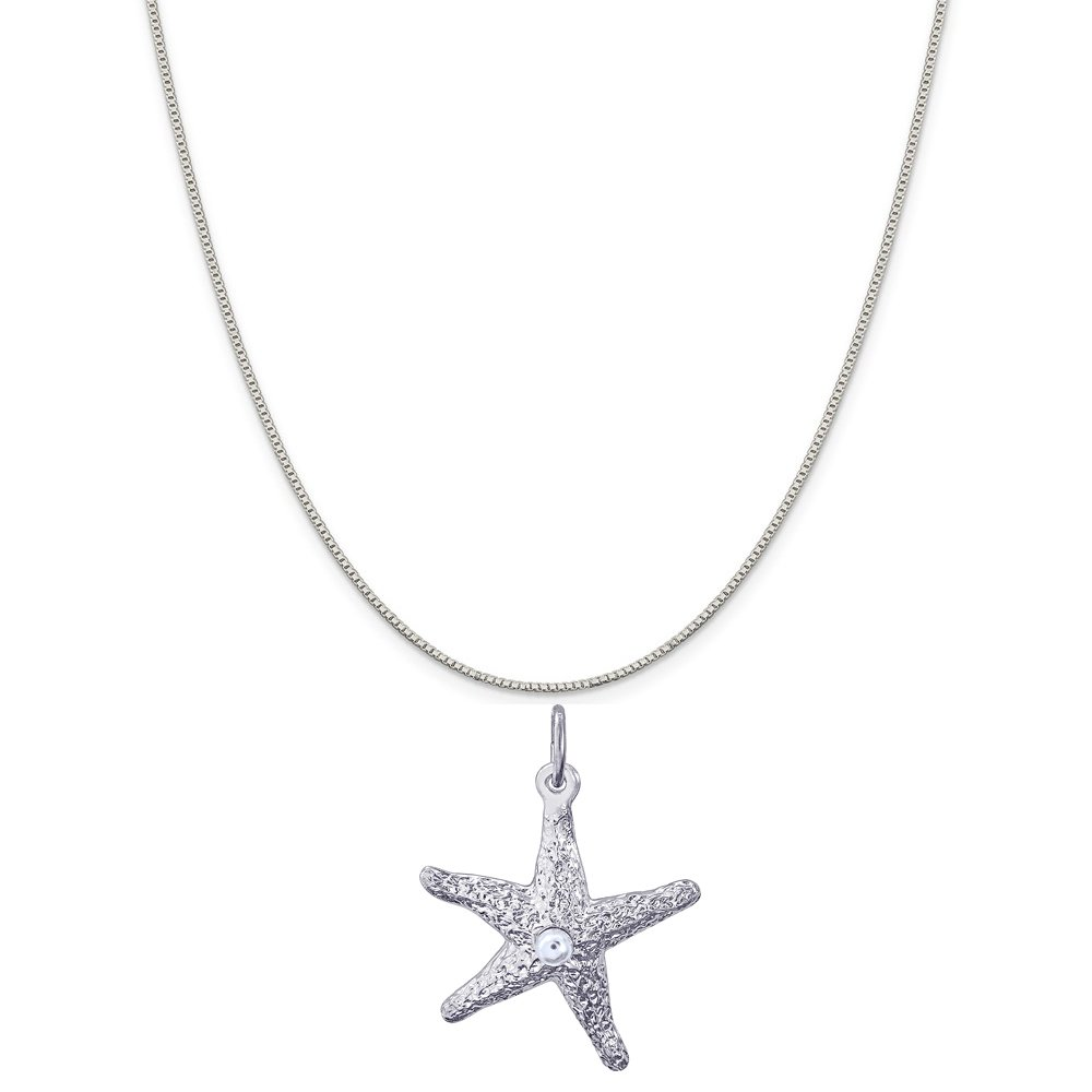Box or Curb Chain Necklace Rembrandt Charms Sterling Silver 3D Starfish Charm on a 16 18 or 20 inch Rope