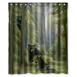60 X72 Inches Shower Curtain Black Bear Family In The Forest Shower Curtain Shower Rings