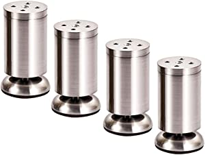 Furniture legs Adjustable 4PCS Cabinet Sofa Table and Chair Bed feet   Stainless Steel, Brushed Surface, 60-150mm