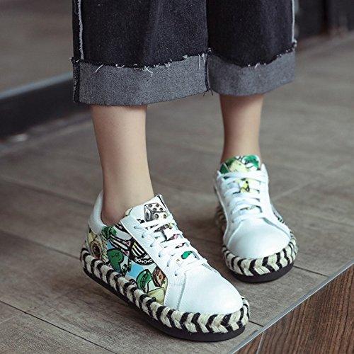 Dentro Del Aumento de Los Zapatos Individuales Femeninos Cáñamo Cuerda Gruesa Mollete Inferior con Zapatos Blancos Pequeños Zapatos Deportivos , blanco , EUR35