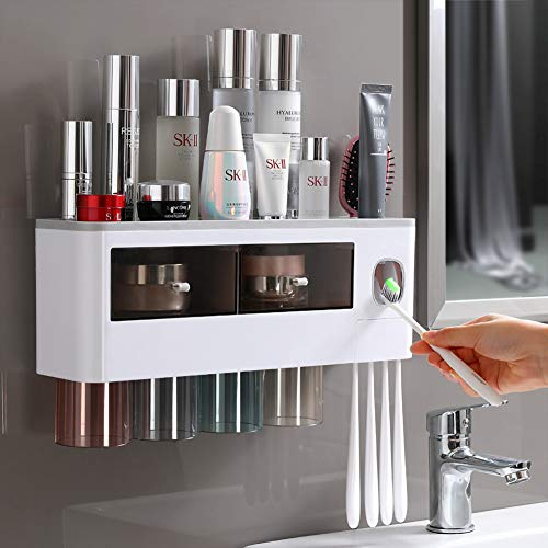 Toothbrush Organizer Wall Mounted, Automatic Toothpaste Dispenser Squeezer with 4 Magnetic Cups, Kids & Family Set Electric Toothbrush Holders, Bathroom Supplies Storage Rack & Easy Install, Durable