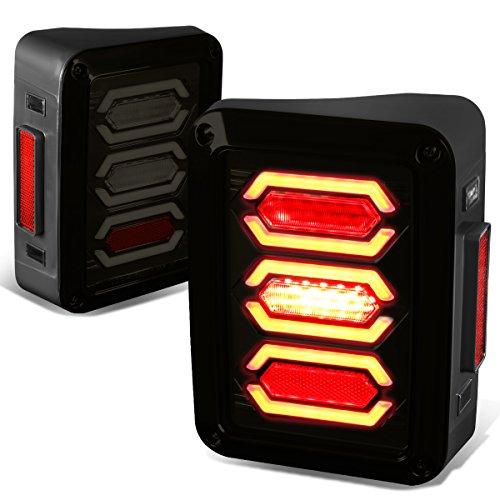 Jeep Wrangler JK Pair of Black Housing Smoked Lens White LED Bar Brake Tail (Led Tail Lights Carbon Fiber)