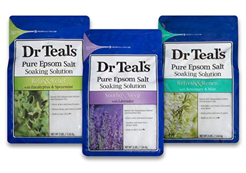 Therapy Salt - Dr. Teal's Epsom Salt Bundle, 3 Items: 1 Relax & Relief Eucalyptus Spearmint 3lbs, 1 Sooth & Sleep Lavender 3lbs and 1 Therapy & Relief Rosemary and Mint 3lbs.