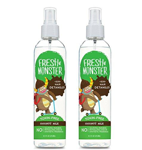 Fresh Monster Kids Detangler Spray Coconut, 8oz 2 pack bottle for FINE to NORMAL hair types