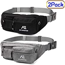 ANT EXPEDITION Fanny Pack Waist Bag Polyester Black Hip Bum Bags for Men Women Outdoors Workout Traveling Casual Running Hiking Cycling Carrying iPhone 8 Samsung S6