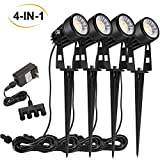 B-right 4 X 3W Outdoor Landscape Spotlights 4-in-1 Landscape Lighting with Stand Spike LED Pathway Lights 12V Low Voltage Waterproof...