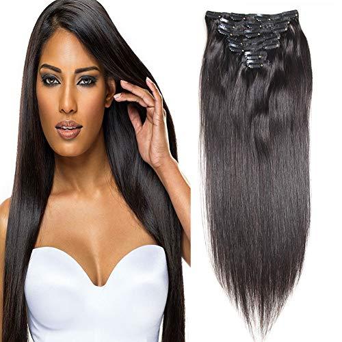 100% Human Hair Brazilian Straight Clip In Human Hair Extensions 16