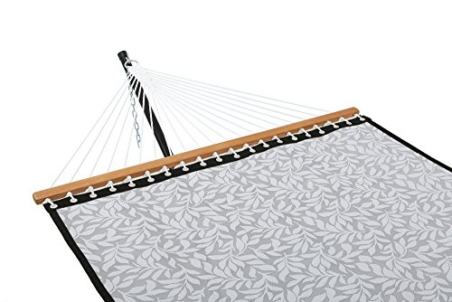 Patio Watcher 14 FT Quick Dry Rope Hammock with Double Size Solid Wood Spreader Bar Outdoor Patio Yard Poolside Hammock with Chains, Waterproof and UV Resistance, 2 Person 450 Pound Capacity