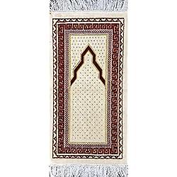 Islamic Prayer Rug - Small Child Baby Toddler Velvet Muslim Namaz Sajjadah Janamaz Simple 15 x 30in (Ivory / Red)