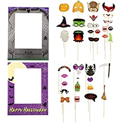 Blue Panda Halloween Photo Booth Props - 35-Pack Happy Halloween Party Props, Selfie Props and 2 Picture Frames, Funny Prop Signs, Assorted Designs, DIY Assembly Needed