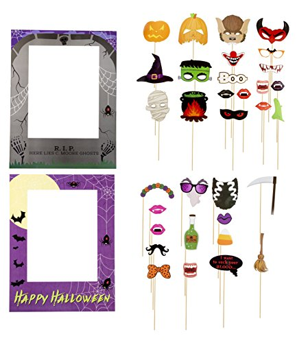 Halloween Photo Booth Props - 35-Pack Happy Halloween Party Props, Selfie Props and 2 Picture Frames, Funny Prop Signs, Assorted Designs, DIY Assembly Needed