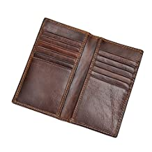 Artmi Mens RFID Wallets Vintage Leather Long Bifold Wallet with 12 Card Slots