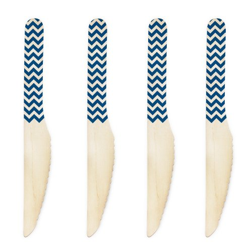 Dress My Cupcake 6.5-Inch Natural Wood Dessert Table Knives, Navy Blue Chevron, 500-Pack