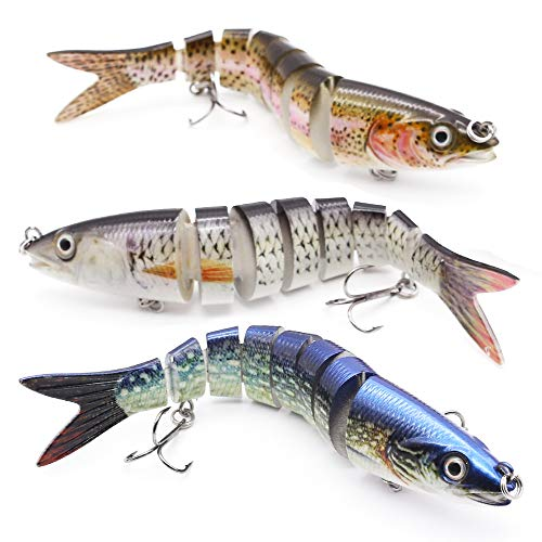 """XFISHMAN Bass Fishing Lures 5"""" 3D Multi Jointed Swimbaits Lures for Northern Pike Lake Trout Fishing Tackle (1-Multi Jointed Minnow Swimbaits Kit 3 Piece)"""