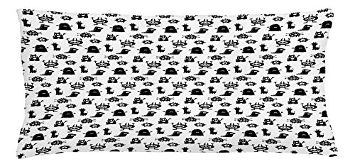 Ambesonne Alien Throw Pillow Cushion Cover, Monochrome Monster Silhouettes Childish Drawings of Otherworldly Beings Halloween, Decorative Square Accent Pillow Case, 36 X 16 inches, Black -