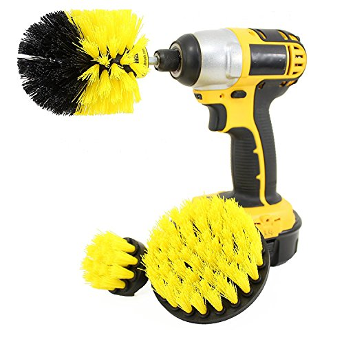 Drill Brush Attachment Kit Turbo Spin Power Scrubber Stiff Medium Soft Nylon Bristle Pool Tile Floor Brick Ceramic Marble Patio Furniture Car Motorcycle Wheel Pool Tile Floor 3 Replaceable Brush Heads (Pool Nylon Brush)