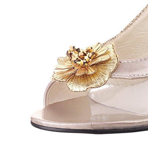 Odomolor Mujeres Hebilla Peep Tacón Medio Pu Tachonado Sandalias de vestir Gold