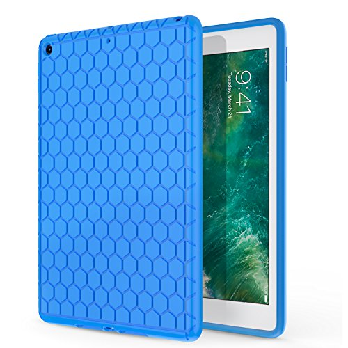 MoKo Fit iPad 9.7 2018/2017 - [Honey Comb Series] Light Weight Shock Proof Soft Silicone Back Cover [Kids Friendly] Compatible with Apple iPad 9.7 Inch (iPad 5, iPad 6), Blue