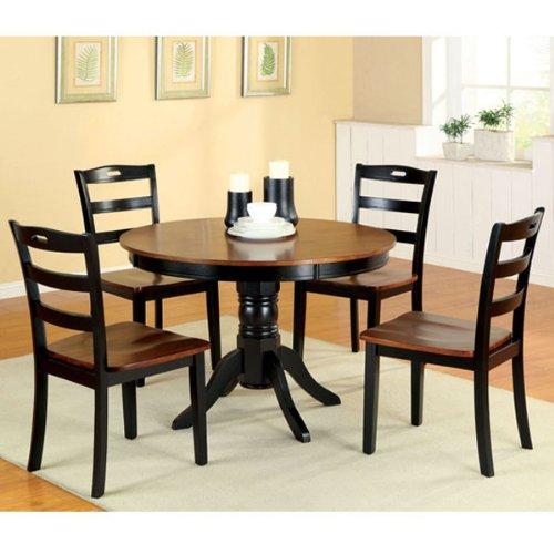 Johnstown Antique Oak & Black Finish 5-Piece Round Dining Table Set