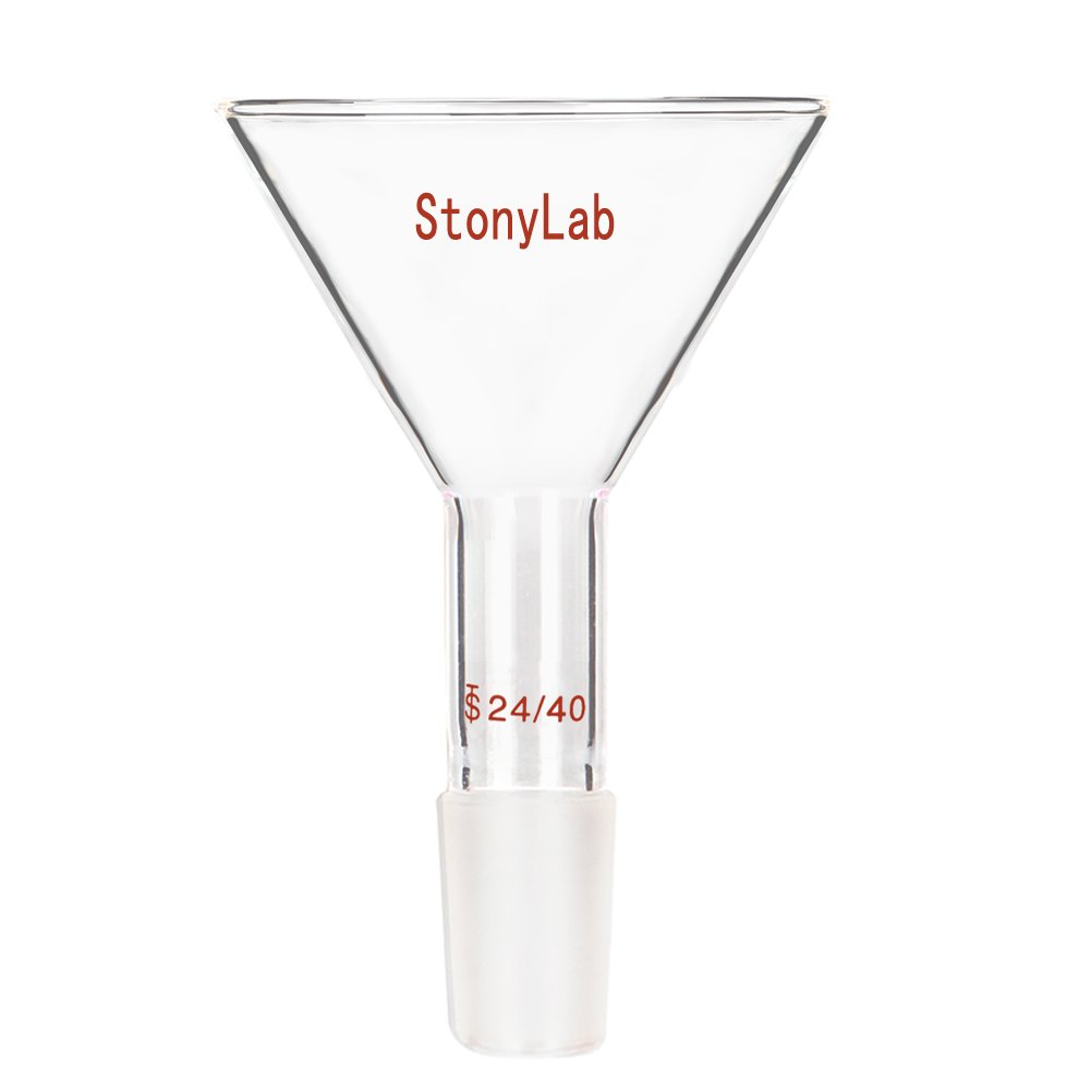StonyLab Glass Short Stem Powder Funnel with 100 mm Top O.D. and 24/40 Inner Joint Filter Funnel Glass Funnel