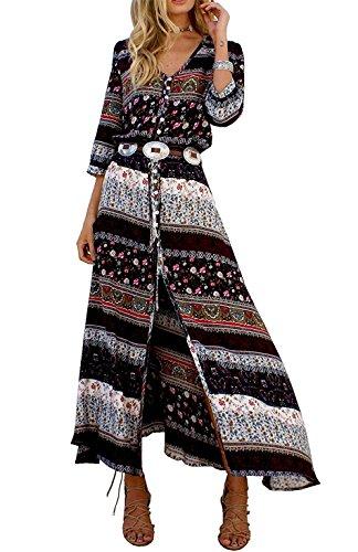 JudyBridal Women Summer Causal Slit Boho Long Beach Maxi Dresses 2XL Brown