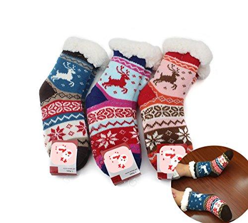 Christmas Elk Disign Kids Winter-weight Animal Indoor Wearing Cozy Slipper Socks Set of 3pcs (4-5year (Childrens Christmas Slippers)