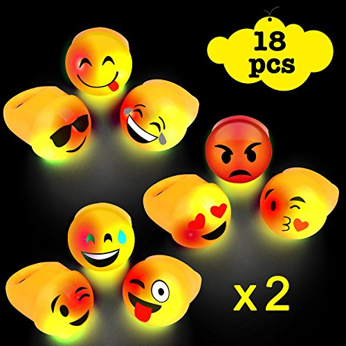 Top Acooe light up emoji rings bulk, LED light up toys for party favor, Small Cute light up rings Emoji flashing Rings party favors for kids -18pack with 9 faces hot sale